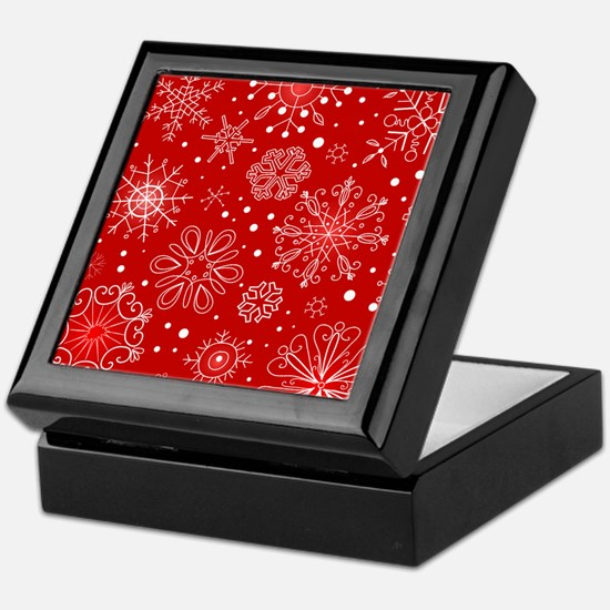 Snowflakes on Red Background Keepsake Box