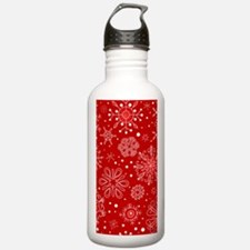 Snowflakes on Red Back Water Bottle