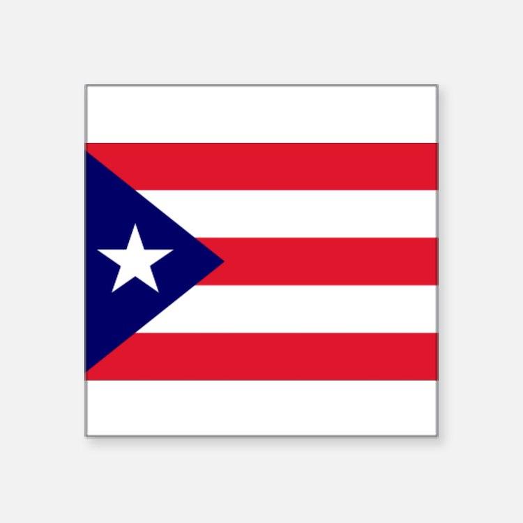 "Cute Puerto rico flag Square Sticker 3"" x 3"""