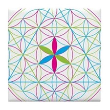 Flower of life tetraedron/merkaba Tile Coaster