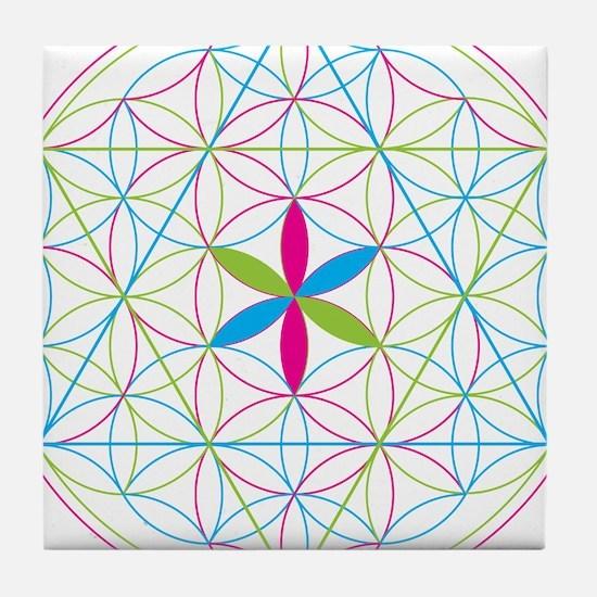 Flower of life tetraedron/merkaba Tile Coaster