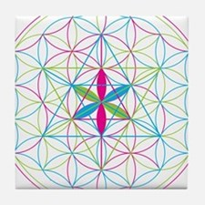 Flower of life Metatron Merkaba Tile Coaster