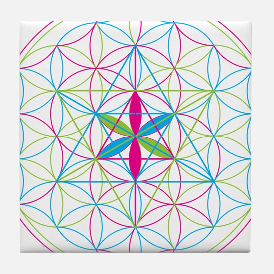 Flower of life Metatron Merkaba Tile Coaster