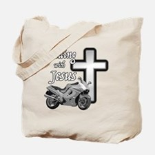 Riding with Jesus Tote Bag