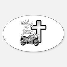 Riding with Jesus Sticker (Oval)