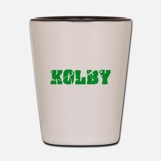Kolby Name Weathered Green Design Shot Glass