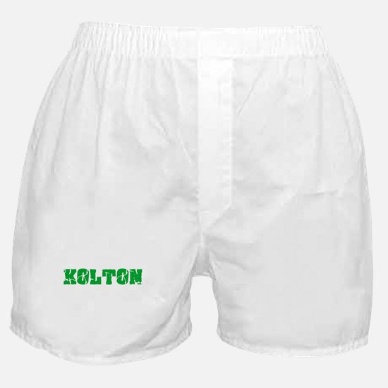Kolton Name Weathered Green Design Boxer Shorts