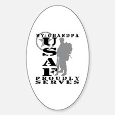 Grandpa Proudly Serves 2 - USAF Oval Decal