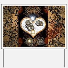 Steampunk, beautiful heart Yard Sign
