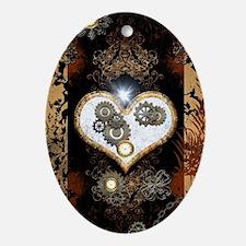 Steampunk, beautiful heart Oval Ornament