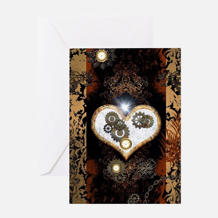 Steampunk, beautiful heart Greeting Cards