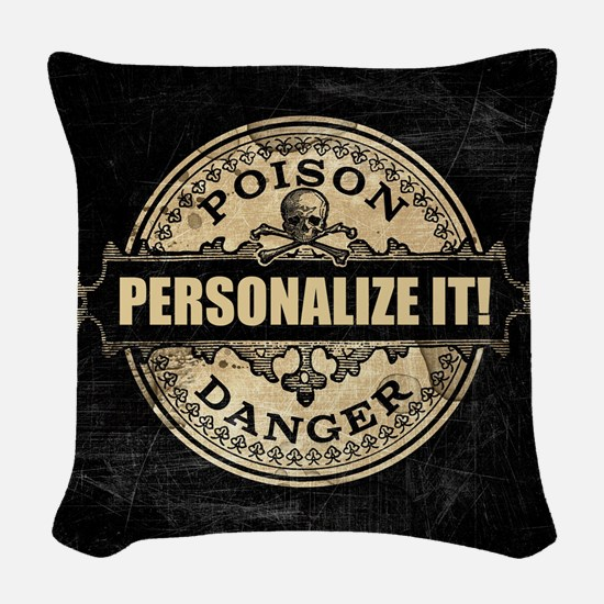 PERSONALIZED Poison Label Woven Throw Pillow