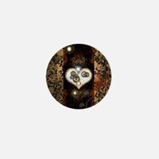 Steampunk, beautiful heart Mini Button