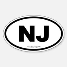 New Jersey NJ Euro Oval Sticker (Oval)