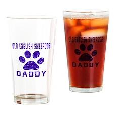 Old English Sheepdog Daddy Designs Drinking Glass