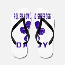 Polish Lowland Sheepdog Daddy Designs Flip Flops