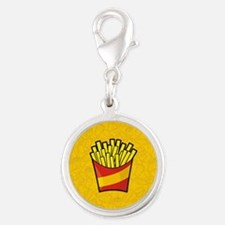 French Fries Silver Round Charm