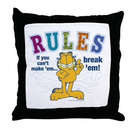 Break Rules Garfield Throw Pillow by garfield
