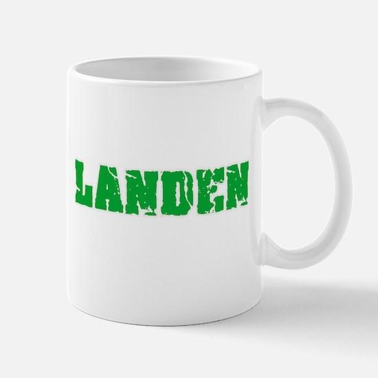 Landen Name Weathered Green Design Mugs