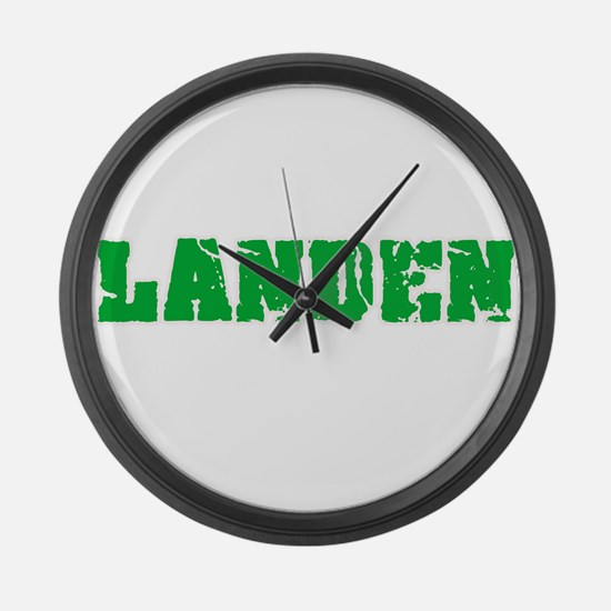 Landen Name Weathered Green Desig Large Wall Clock