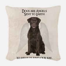 Chocolate Lab Angel Woven Throw Pillow