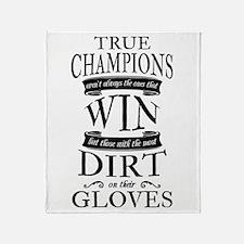 True Champions Soccer Goalie Black Throw Blanket
