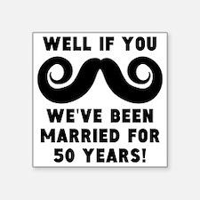 50th Wedding Anniversary Mustache Sticker