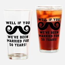 50th Wedding Anniversary Mustache Drinking Glass