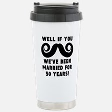 50th Wedding Anniversary Mustache Travel Mug