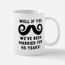 45th Wedding Anniversary Mustache Mugs