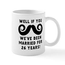 26th Wedding Anniversary Mustache Mugs