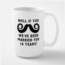 16th Wedding Anniversary Mustache Mugs