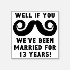 13th Wedding Anniversary Mustache Sticker