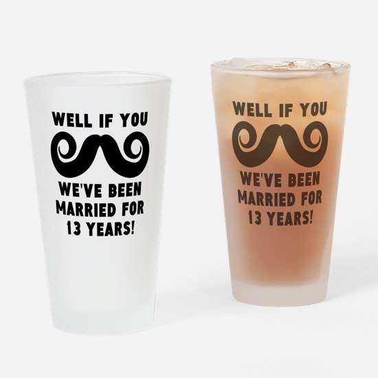 13th Wedding Anniversary Mustache Drinking Glass