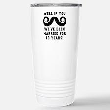 13th Wedding Anniversary Mustache Travel Mug