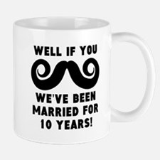 10th Wedding Anniversary Mustache Mugs