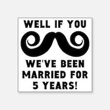 5th Wedding Anniversary Mustache Sticker