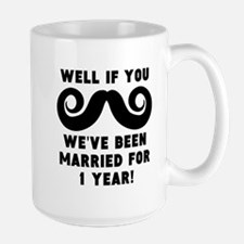 1st Wedding Anniversary Mustache Mugs