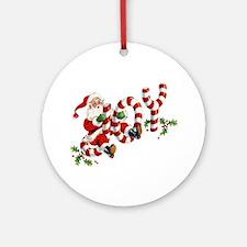 Vintage Joy and Santa Round Ornament