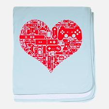 Gamer heart baby blanket