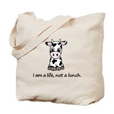 Live, not lunch cartoon cow Tote Bag