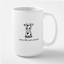 Live, not lunch cartoon cow Large Mug