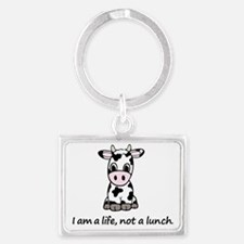 Live, not lunch cartoon cow Landscape Keychain