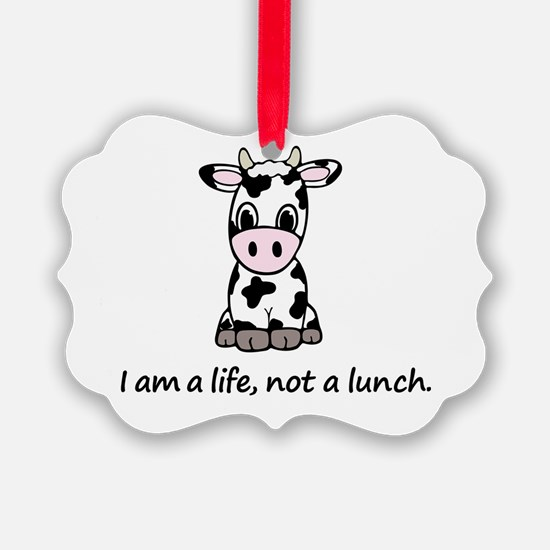 Live, not lunch cartoon cow Ornament