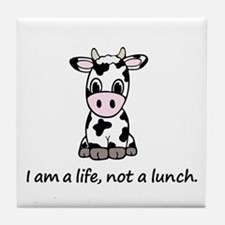 Live, not lunch cartoon cow Tile Coaster