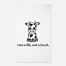 Live, not lunch cartoon cow Area Rug