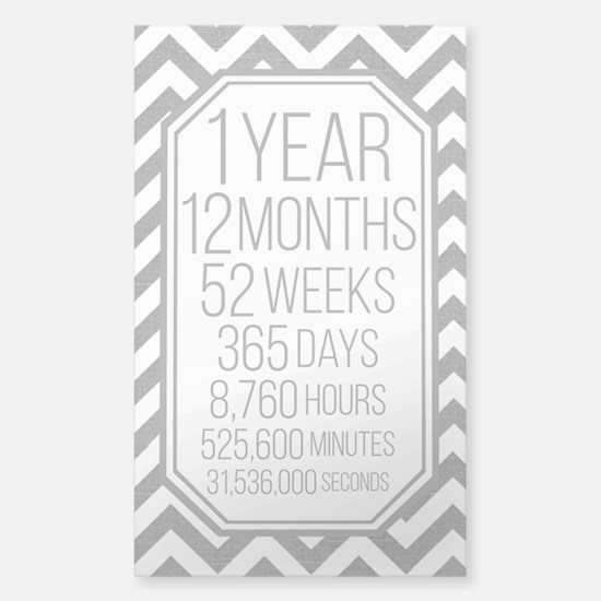 1 Year (gray Chevron) Sticker (rectangle)