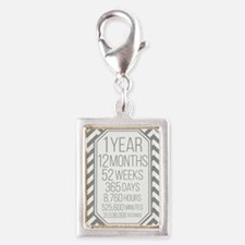 1 Year (Gray Chevron) Silver Portrait Charm