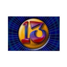 Lucky Number 13 Rectangle Magnet