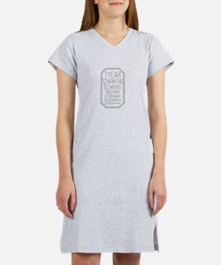 1 Year (Gray Chevron) Women's Nightshirt